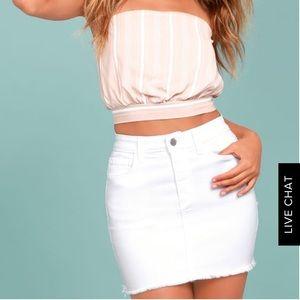 Lulus White Denim Skirt